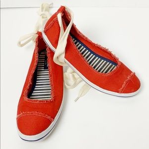 Kate Spade Red Canvas Hayley Sneaker W Ankle Ties